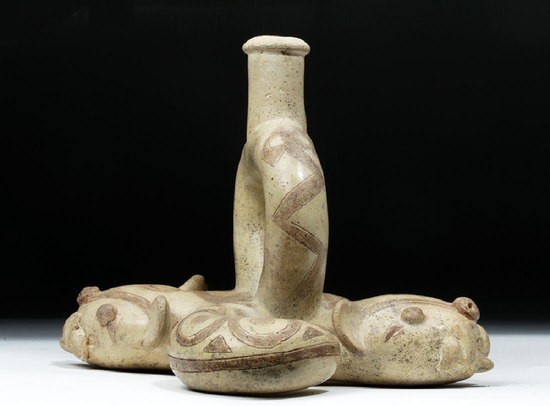 Moche I Pottery Double Snake Stirrup - TL Tested - 3