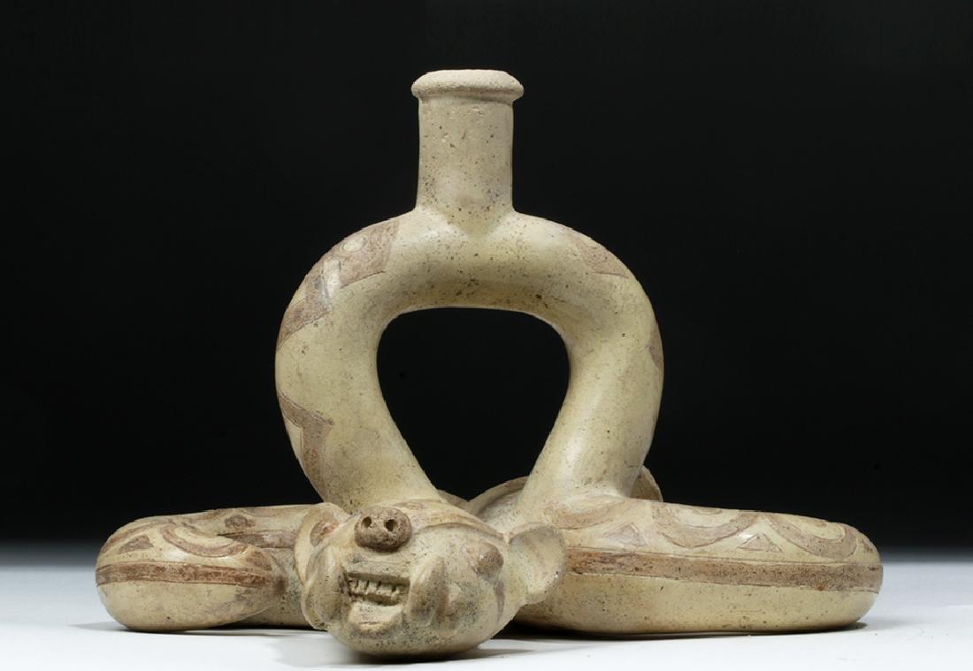 Moche I Pottery Double Snake Stirrup - TL Tested - 4