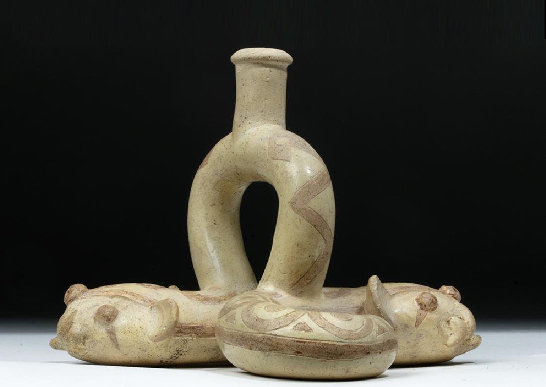 Moche I Pottery Double Snake Stirrup - TL Tested - 5