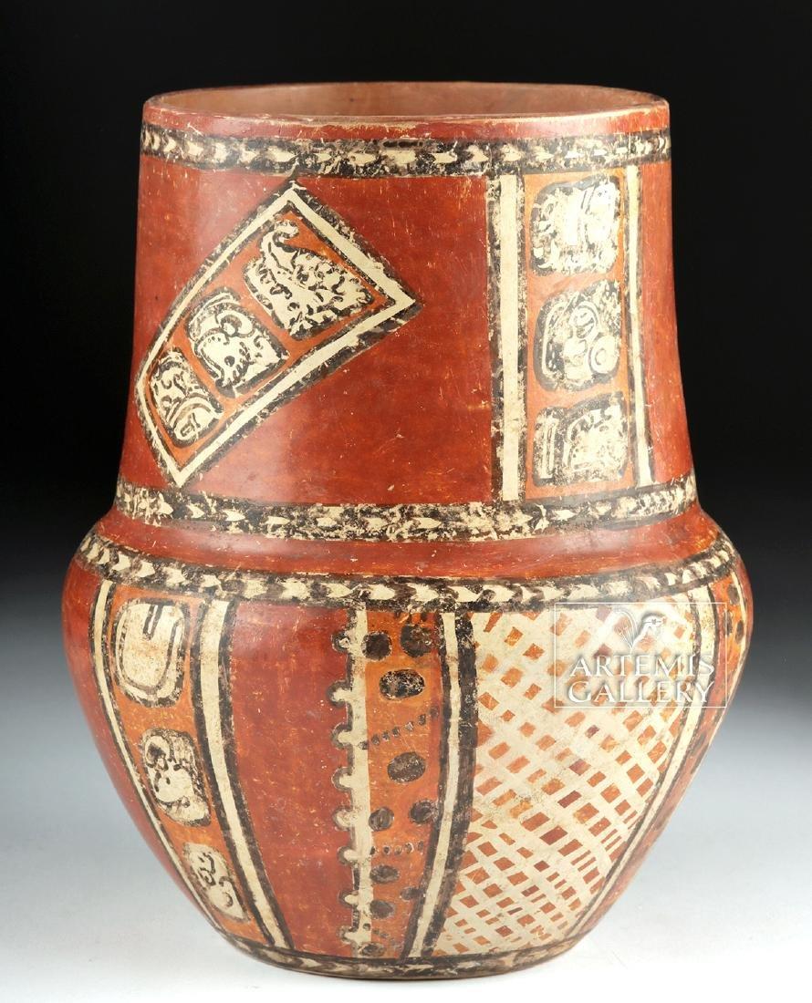 Superb Mayan Chama Polychrome Jar w/ Glyphs