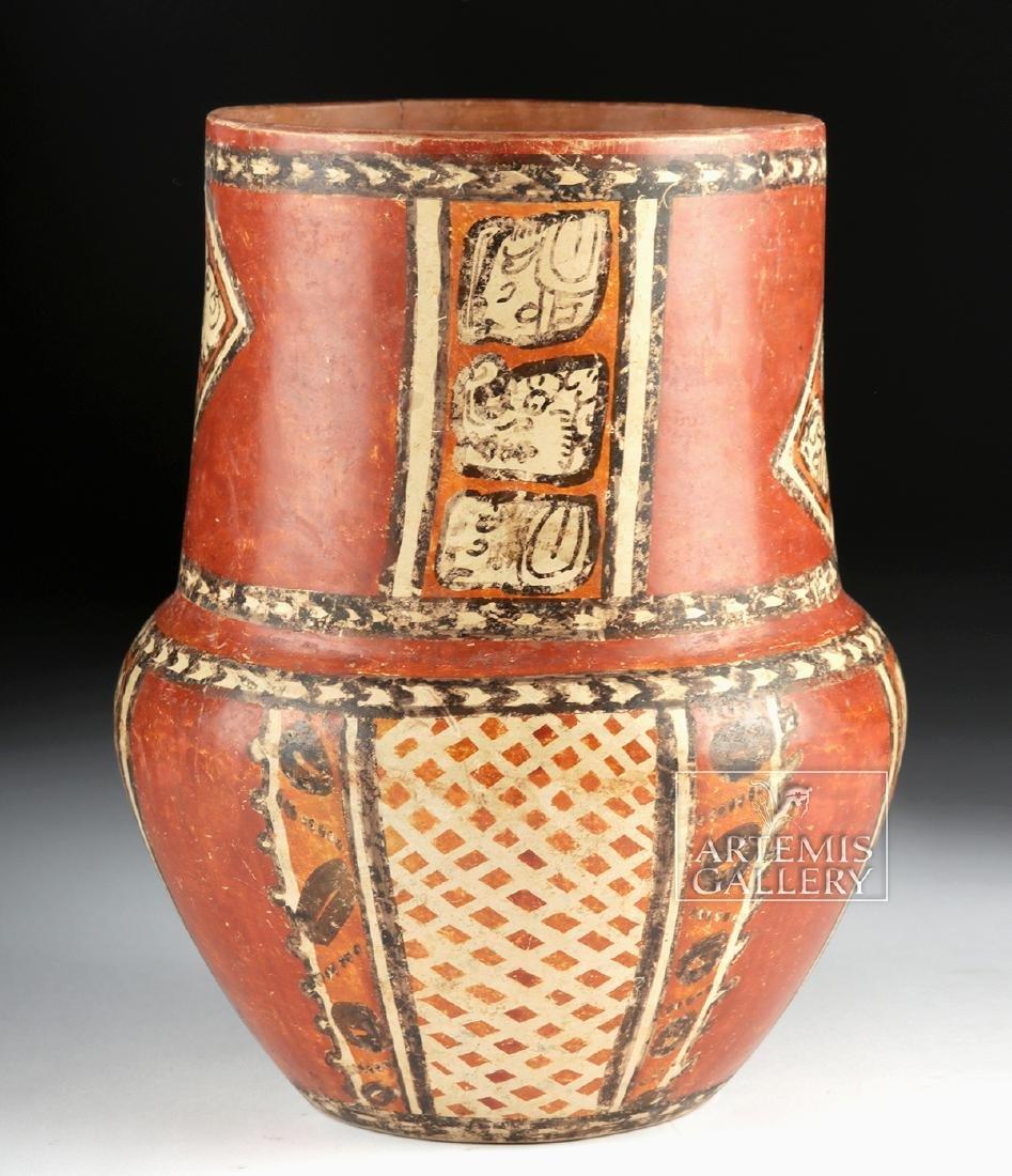 Superb Mayan Chama Polychrome Jar w/ Glyphs - 3