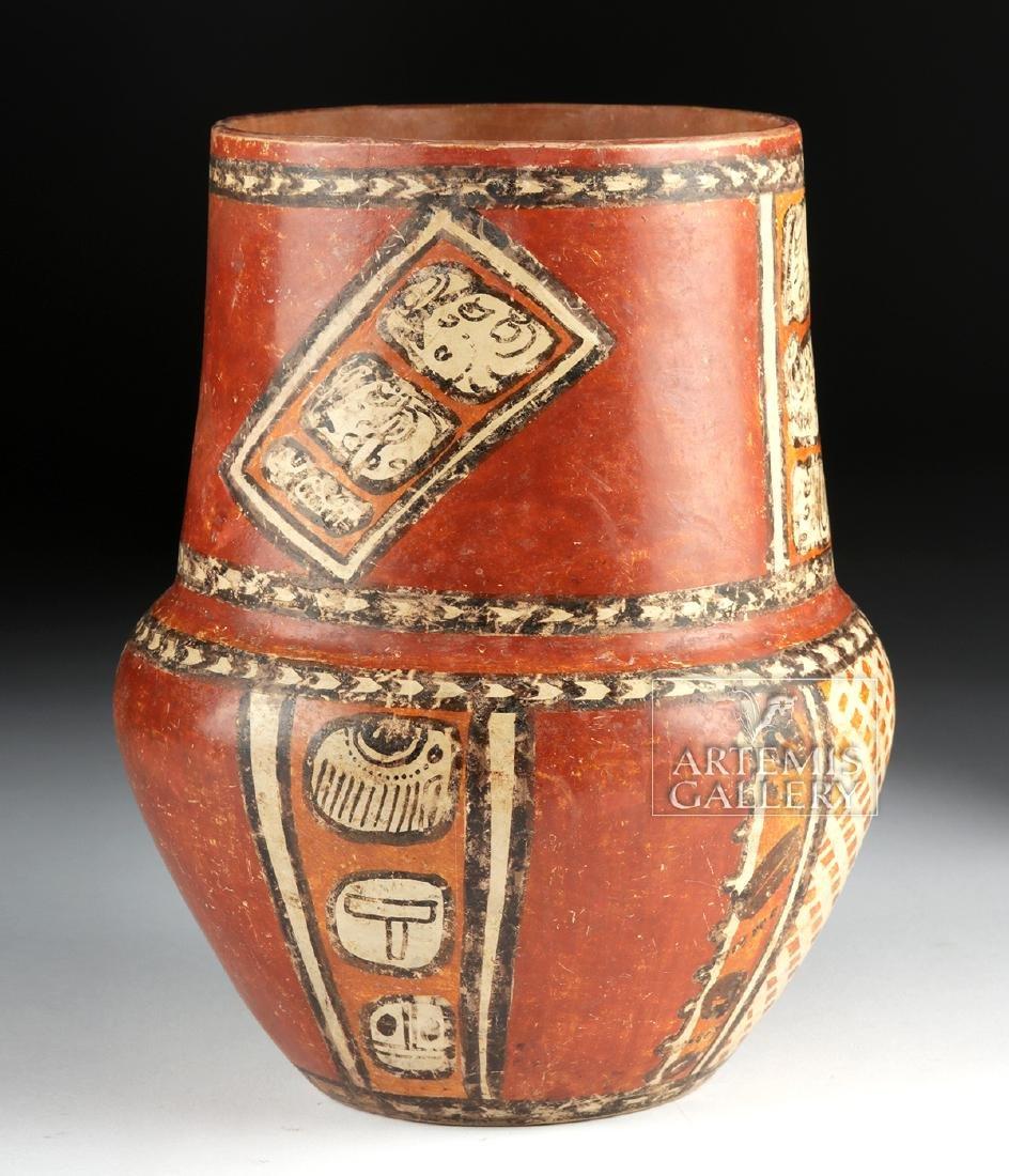 Superb Mayan Chama Polychrome Jar w/ Glyphs - 4