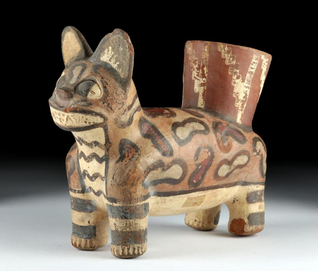 Huari Pottery Painted Jaguar Vessel