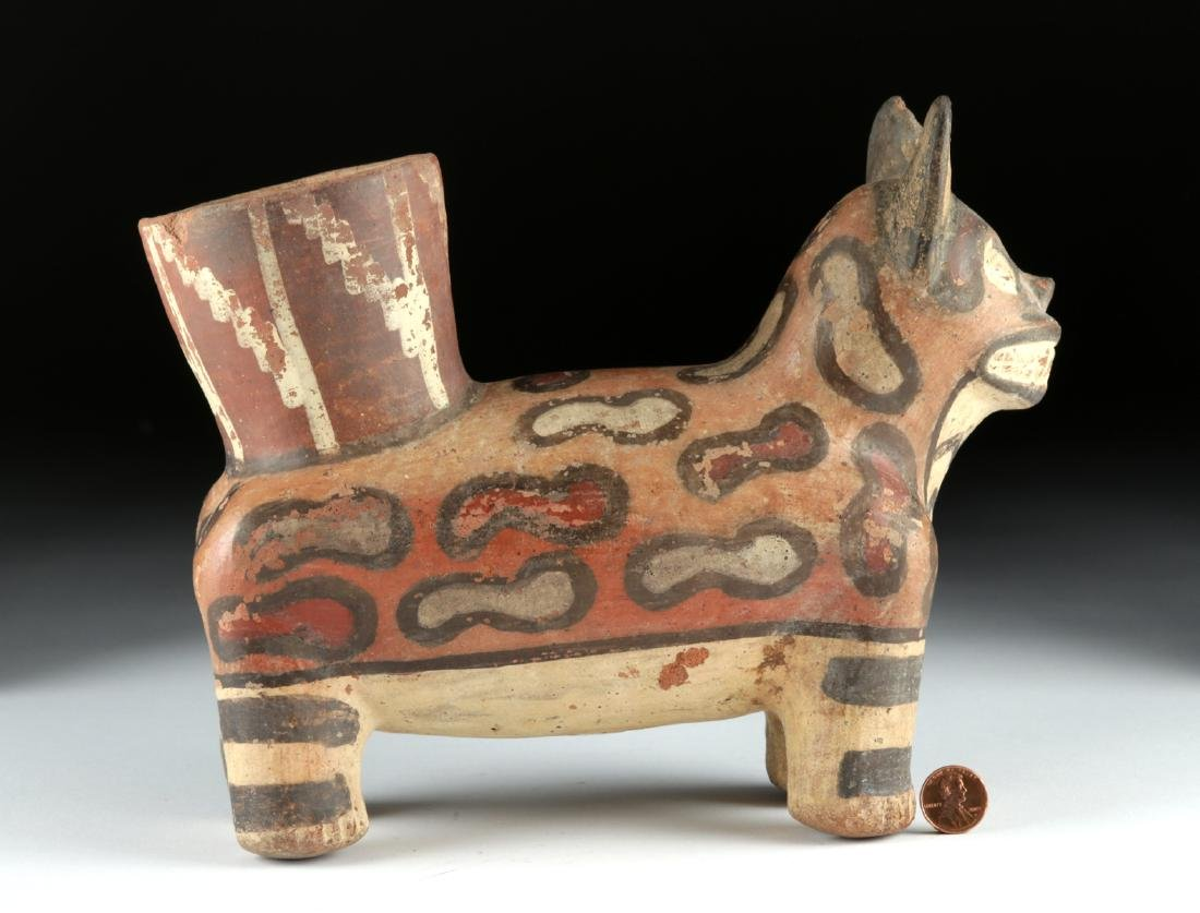 Huari Pottery Painted Jaguar Vessel - 4