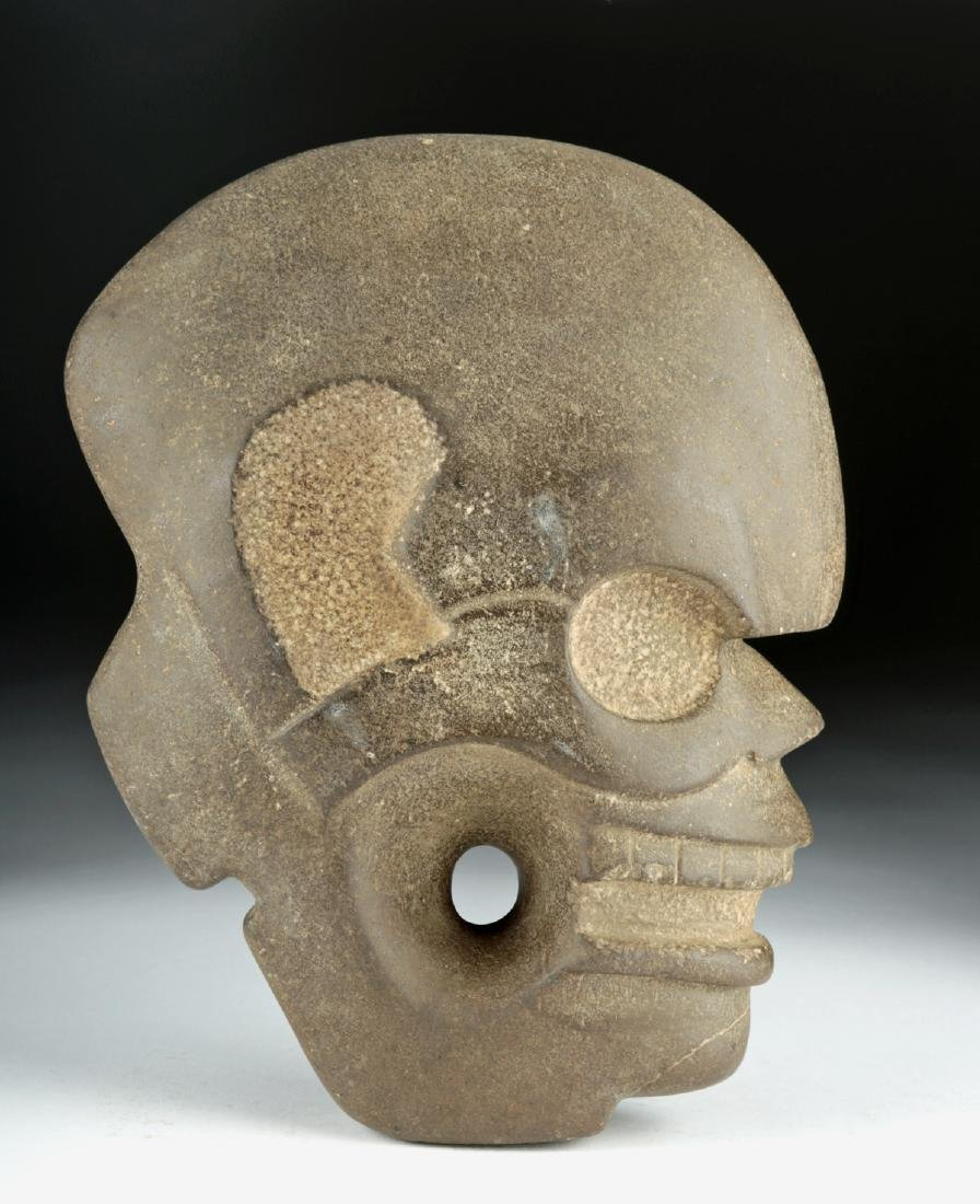 Vera Cruz Carved Stone Hacha - Skull in Profile
