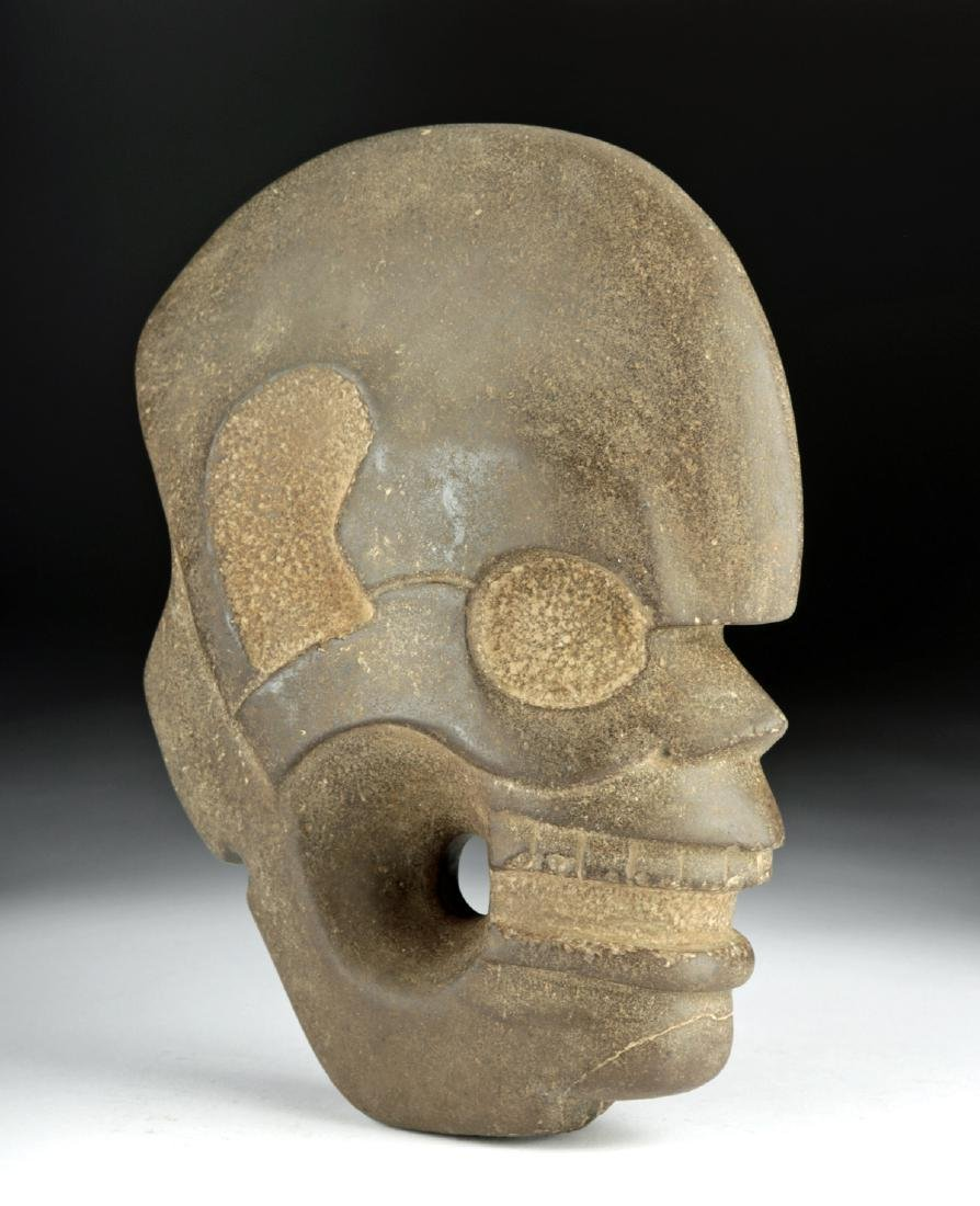 Vera Cruz Carved Stone Hacha - Skull in Profile - 2