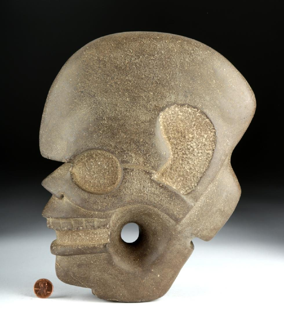 Vera Cruz Carved Stone Hacha - Skull in Profile - 3