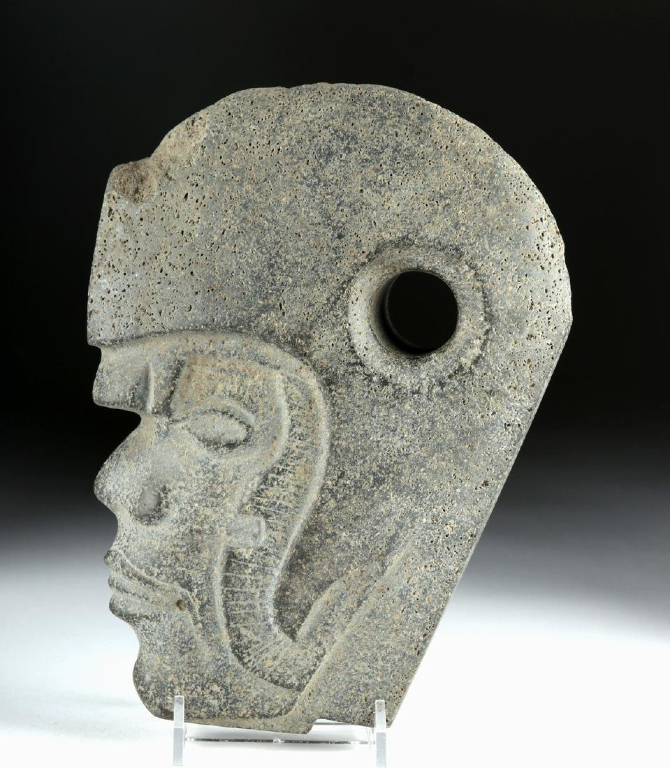 Vera Cruz Carved Stone Hacha - Helmeted Warrior