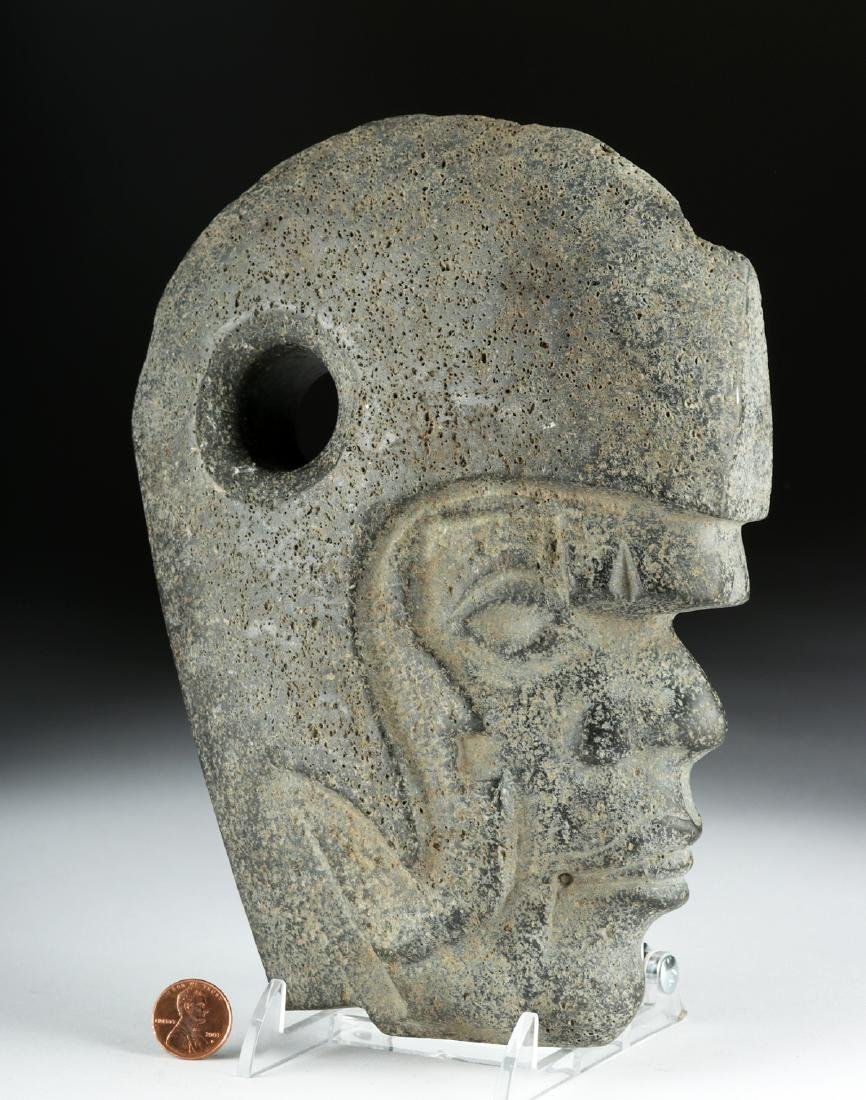 Vera Cruz Carved Stone Hacha - Helmeted Warrior - 2