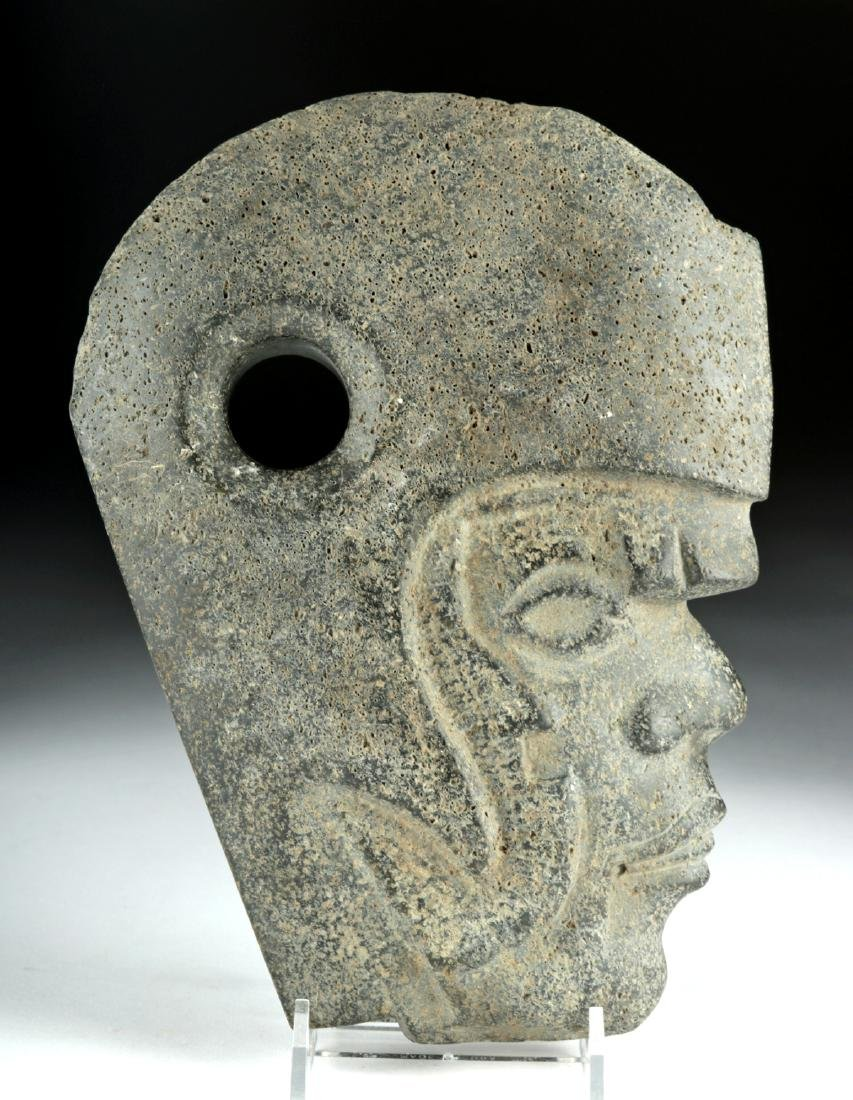 Vera Cruz Carved Stone Hacha - Helmeted Warrior - 3