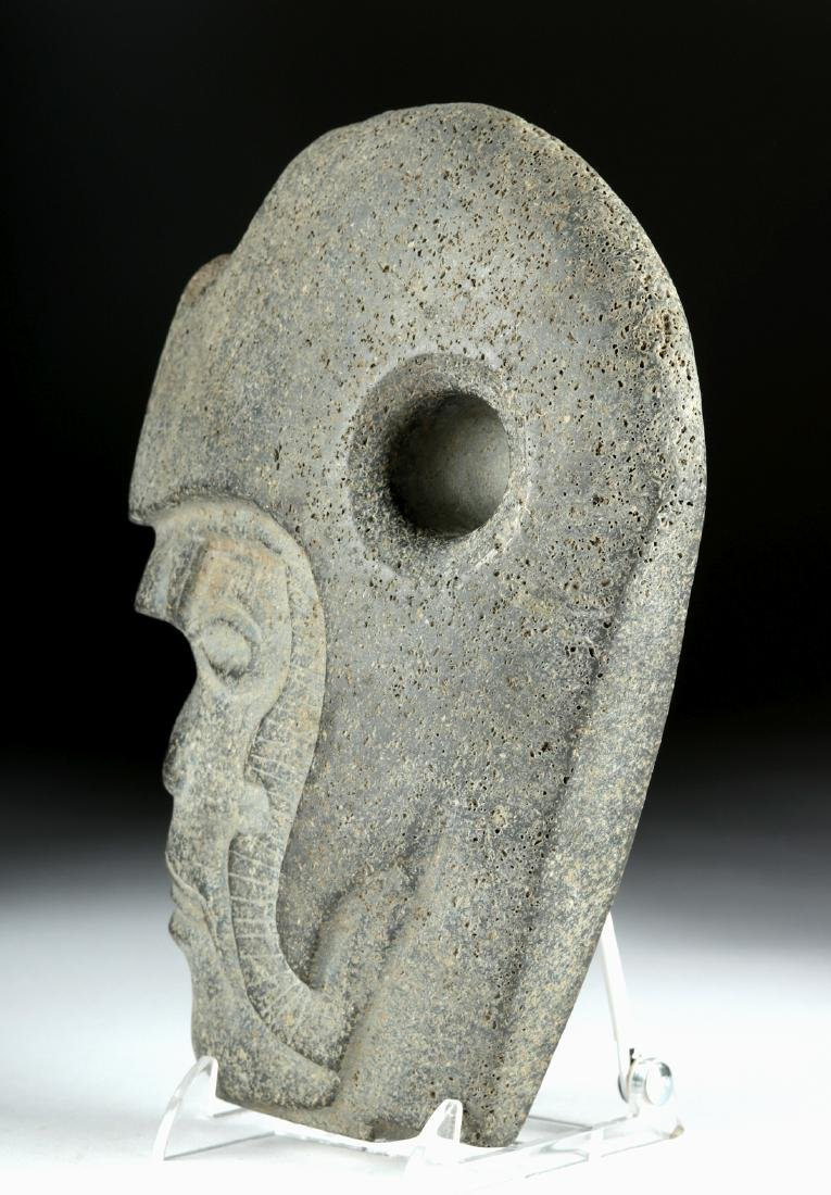 Vera Cruz Carved Stone Hacha - Helmeted Warrior - 4