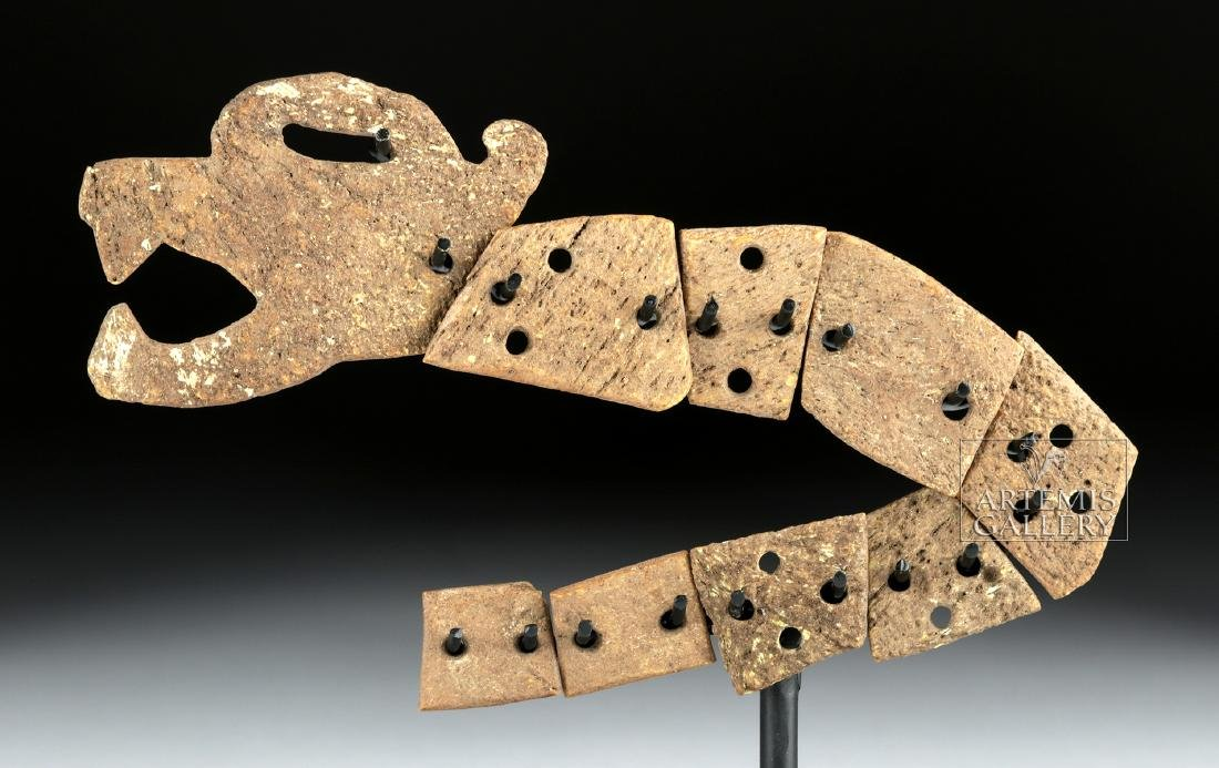 Rare Aztec Bone Carving - Articulated Jaguar Snake