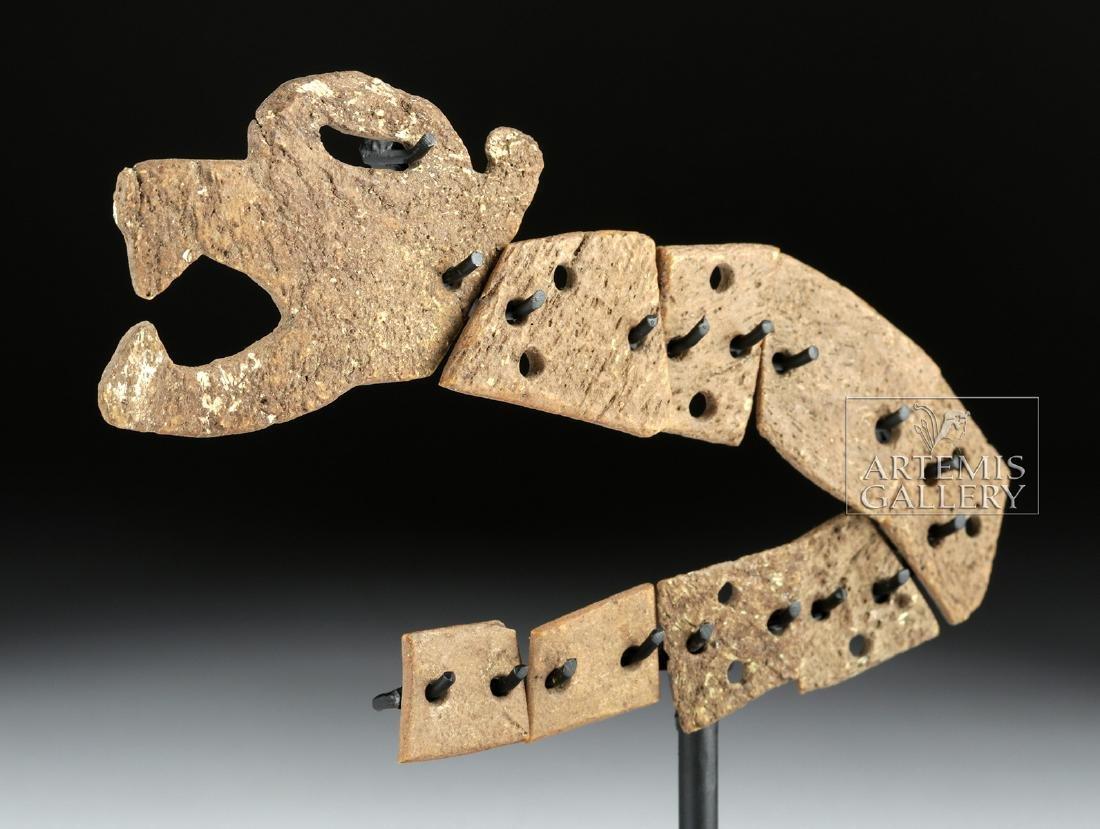 Rare Aztec Bone Carving - Articulated Jaguar Snake - 2