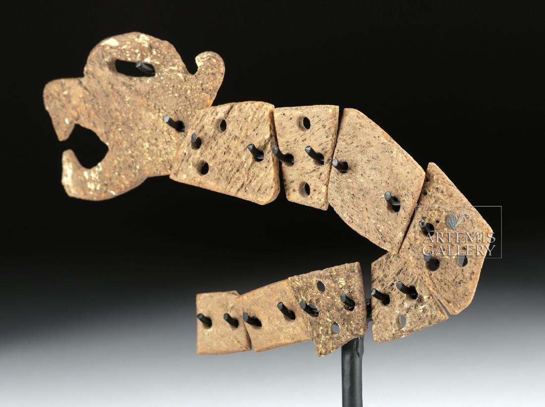 Rare Aztec Bone Carving - Articulated Jaguar Snake - 3