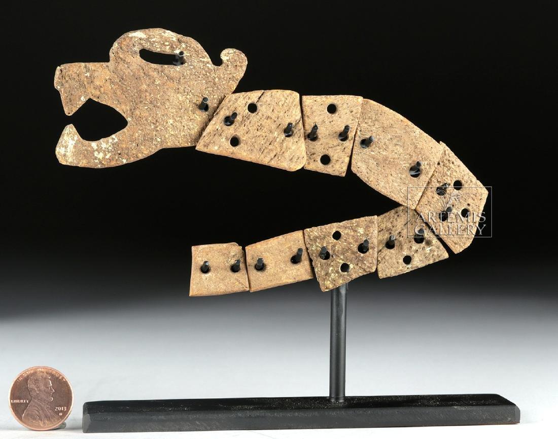 Rare Aztec Bone Carving - Articulated Jaguar Snake - 6