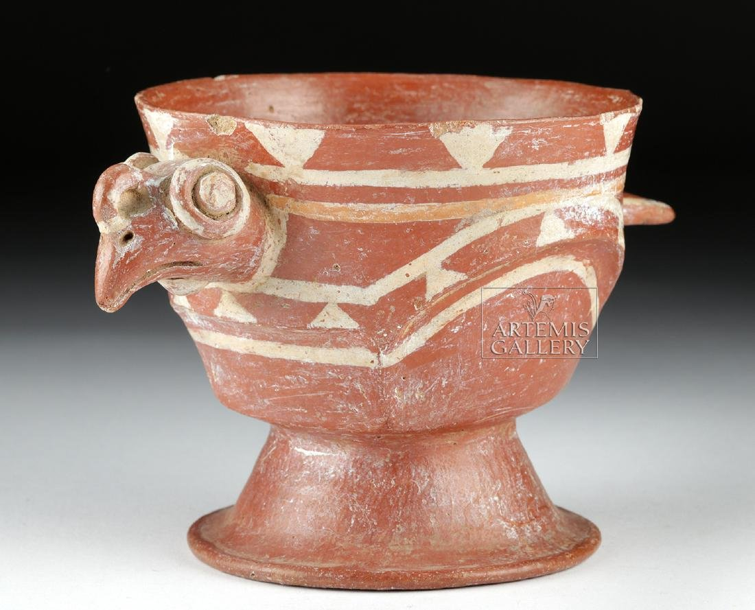 Aztec Bichrome Pottery Chalice - Turkey Form