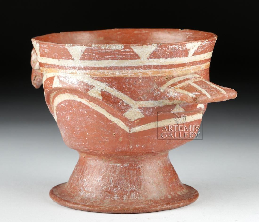 Aztec Bichrome Pottery Chalice - Turkey Form - 4