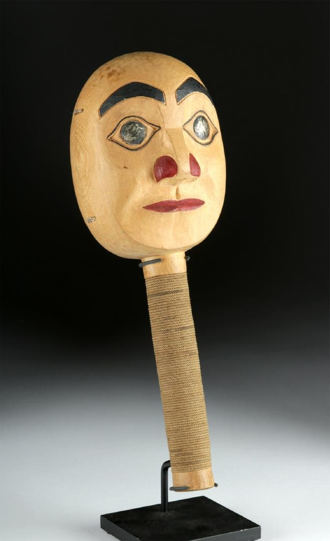 Early 20th C. Tlingit Moon Faced Wood Rattle