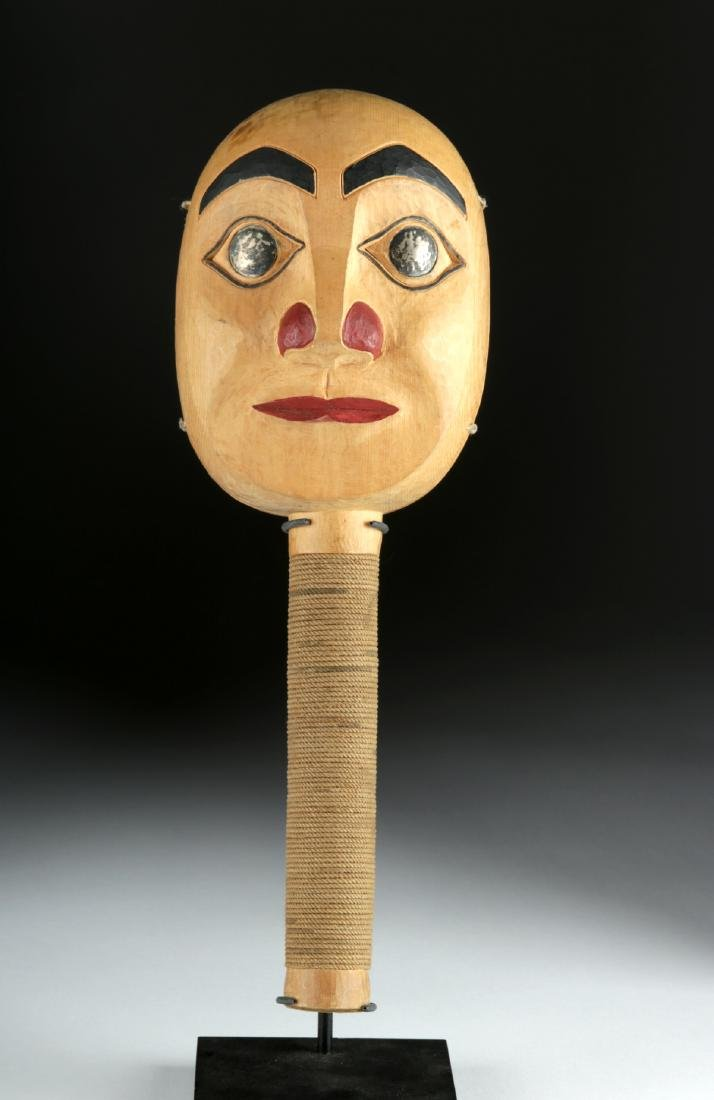 Early 20th C. Tlingit Moon Faced Wood Rattle - 2