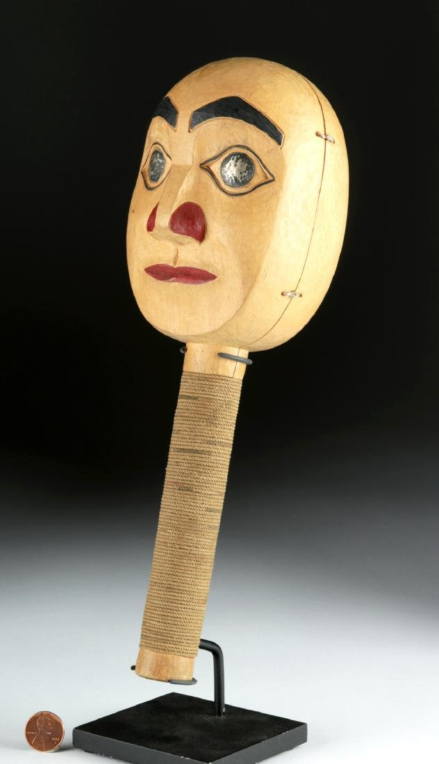 Early 20th C. Tlingit Moon Faced Wood Rattle - 3