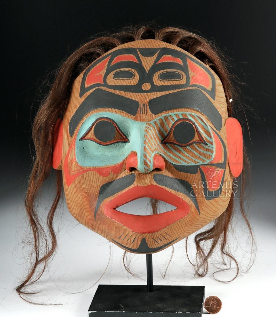 20th C. Kwakwaka'wakw Cedar Mask Signed by Tsungani