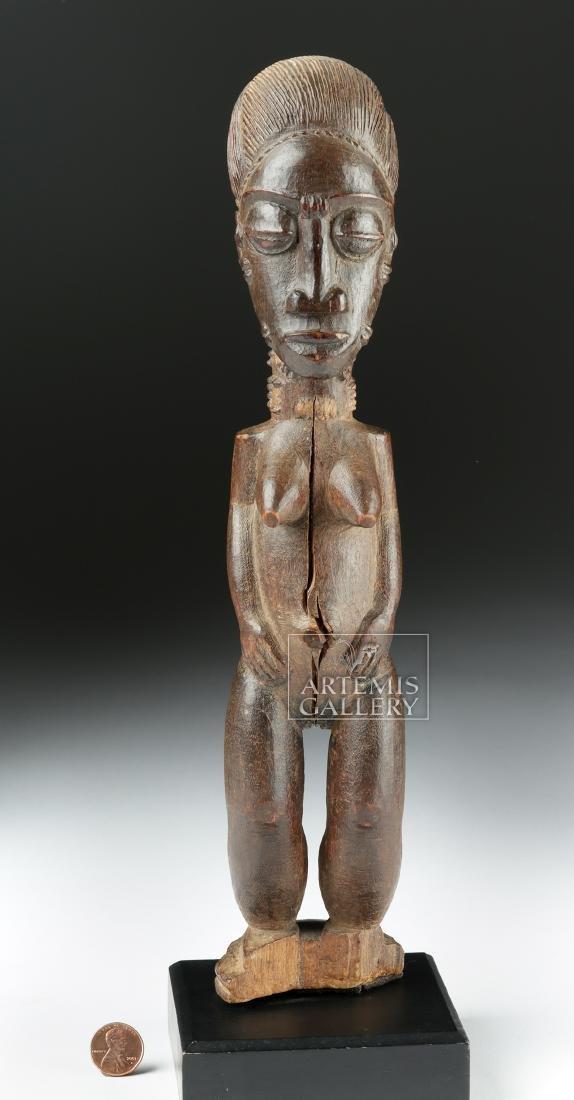 Late 19th C. African Baule Wooden Blolo Bla Figure - 2