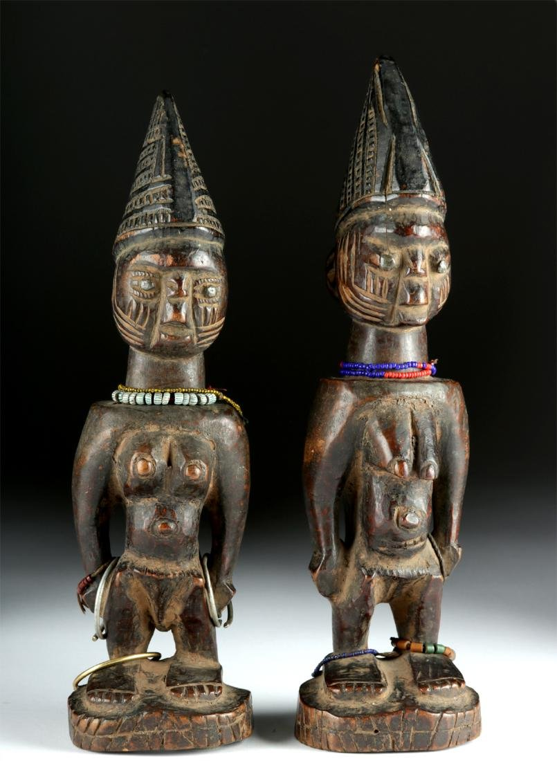 Matched Early 20th C. African Yoruba Wooden Ibeji Twins