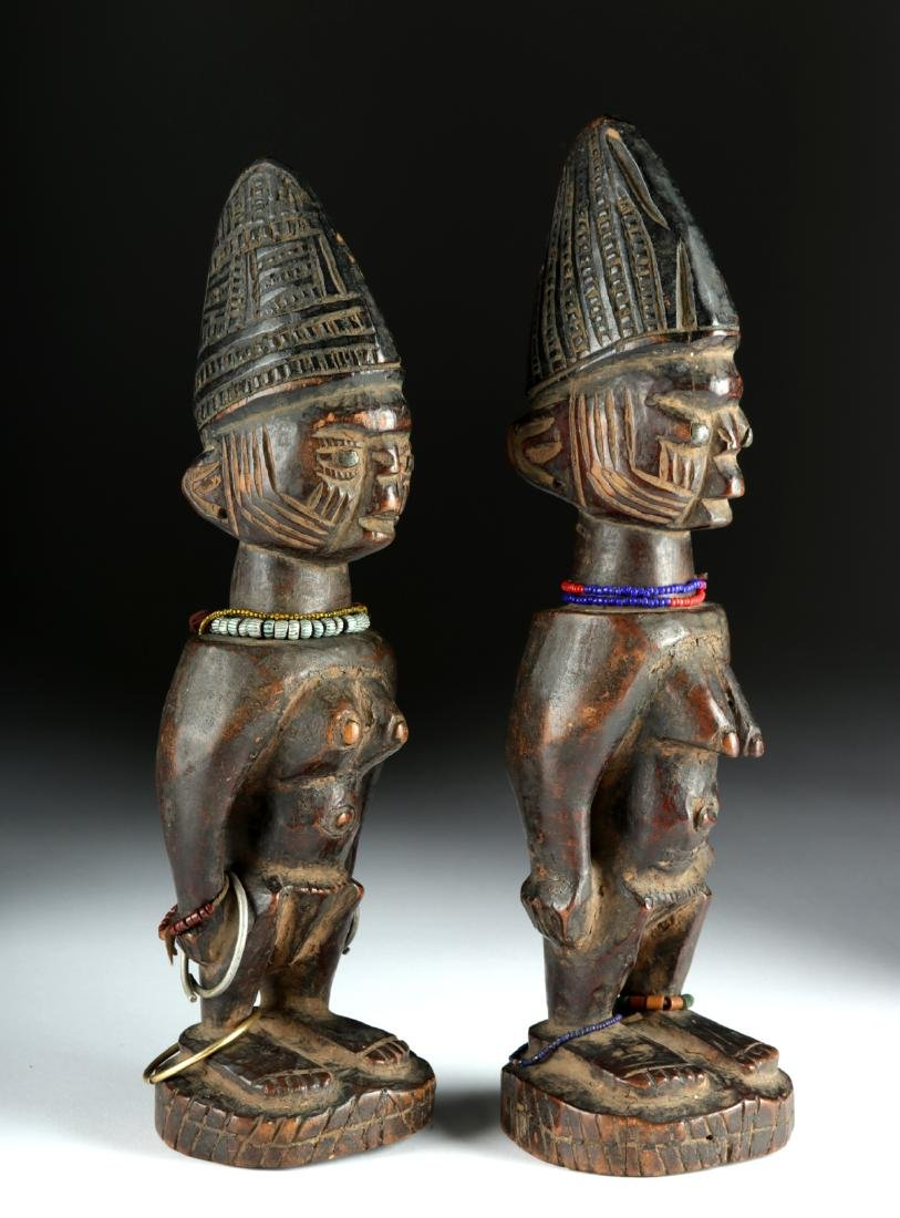 Matched Early 20th C. African Yoruba Wooden Ibeji Twins - 2