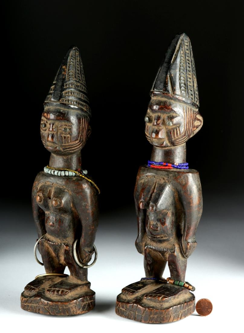 Matched Early 20th C. African Yoruba Wooden Ibeji Twins - 3
