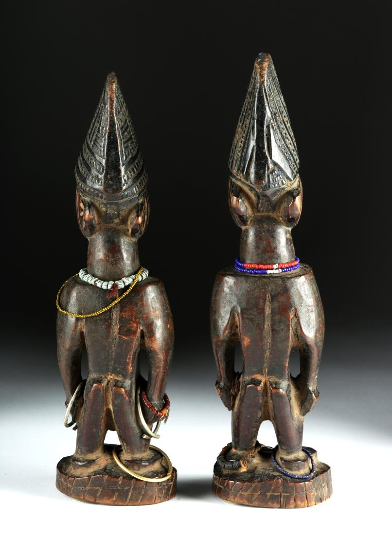 Matched Early 20th C. African Yoruba Wooden Ibeji Twins - 4