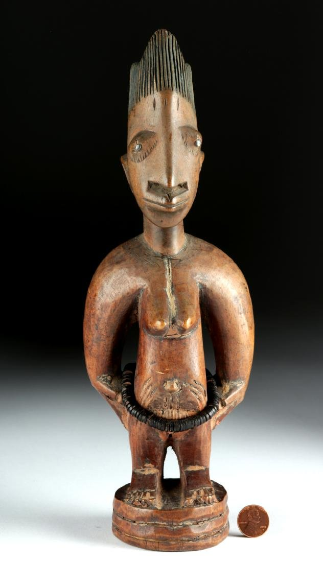 Early 20th C. Yoruba Wooden Female Ibeji, ex-Arnovick - 2