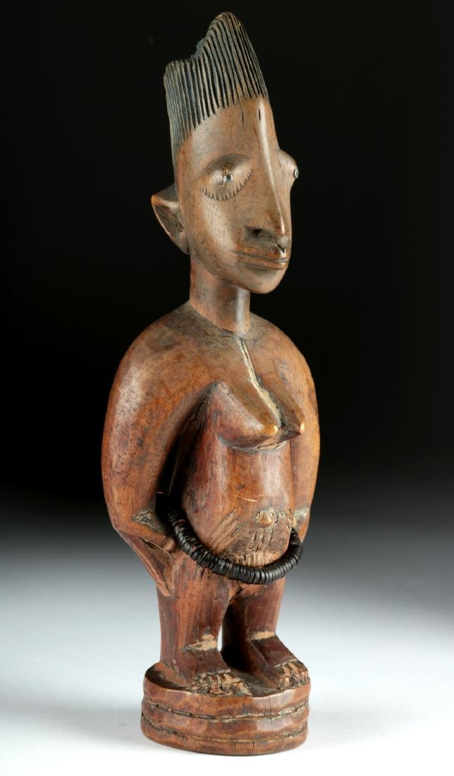 Early 20th C. Yoruba Wooden Female Ibeji, ex-Arnovick - 3