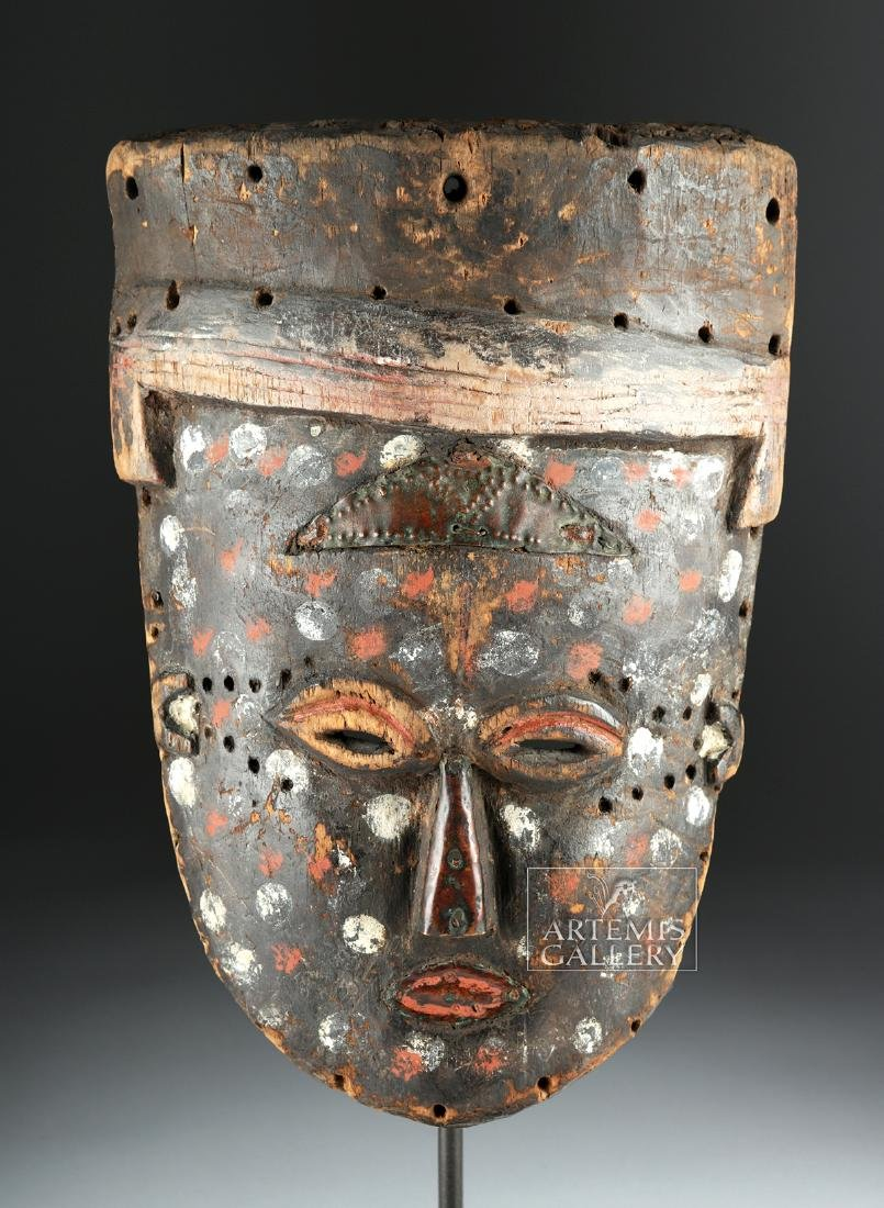 Early 20th C. African Lele Wood & Copper Painted Mask