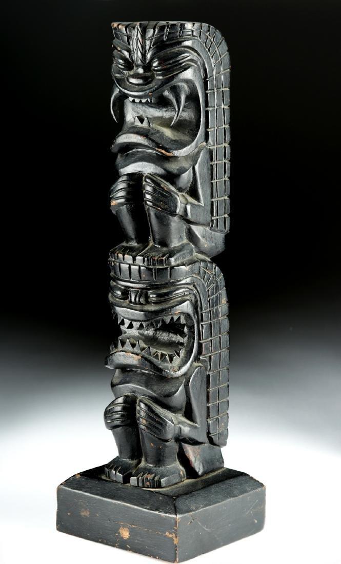 Early 20th C. Hawaiian Hardwood Tiki Totem, Two Figures