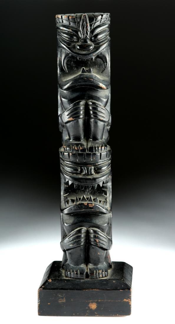 Early 20th C. Hawaiian Hardwood Tiki Totem, Two Figures - 2