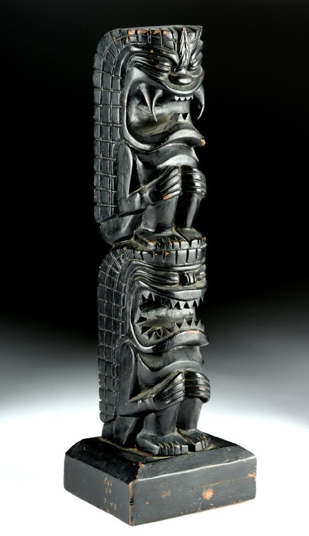 Early 20th C. Hawaiian Hardwood Tiki Totem, Two Figures - 3
