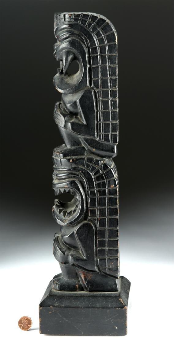 Early 20th C. Hawaiian Hardwood Tiki Totem, Two Figures - 4