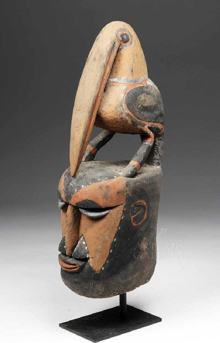 Important Large 20th C PNG Carved Yam Mask - 2