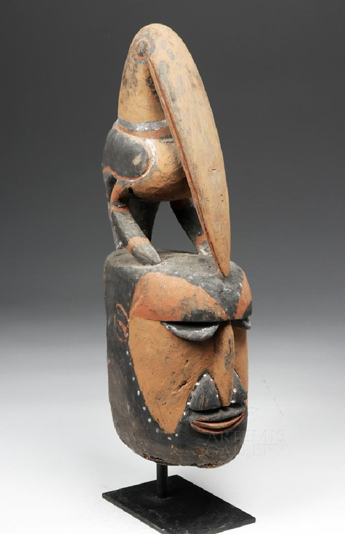 Important Large 20th C PNG Carved Yam Mask - 5