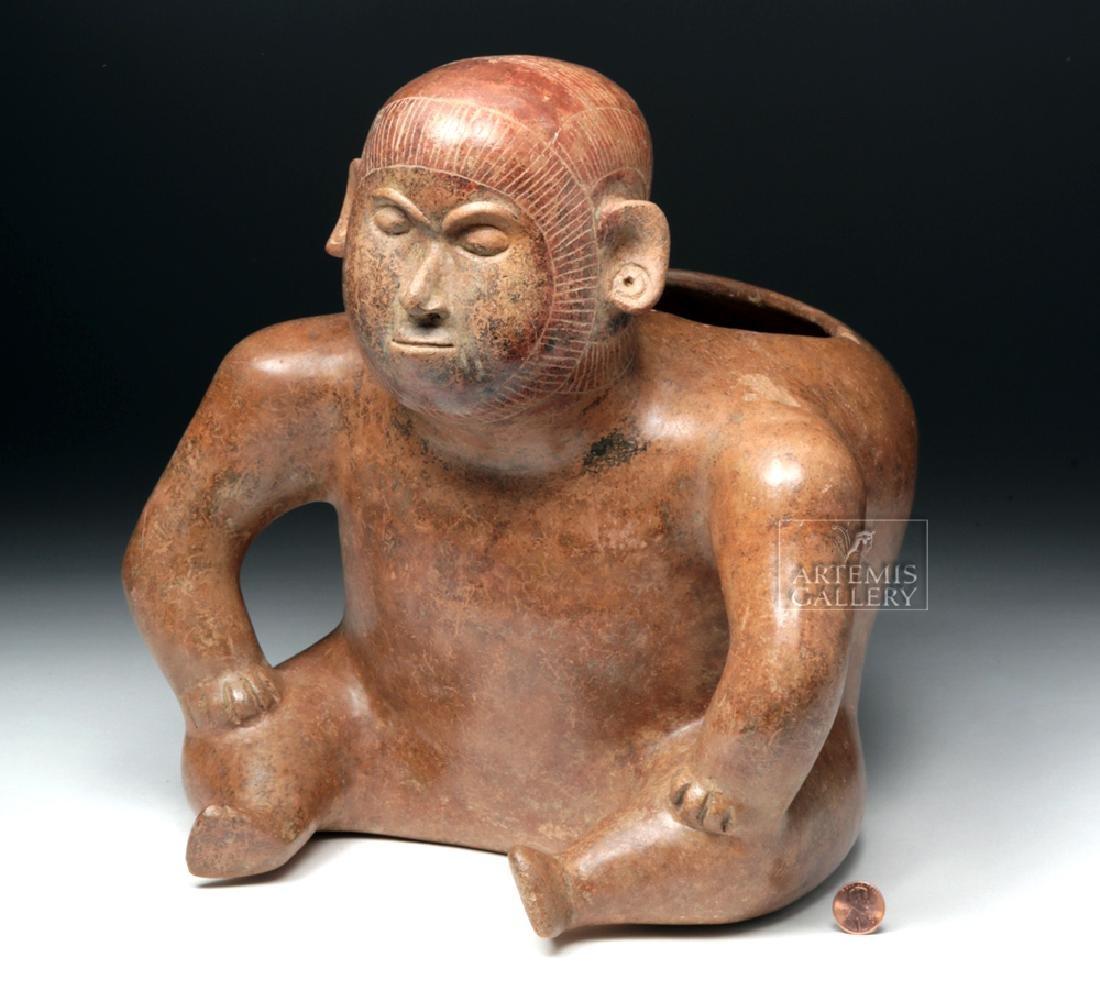 Large Colima Pottery Redware Olla - Dwarf Shaman Figure