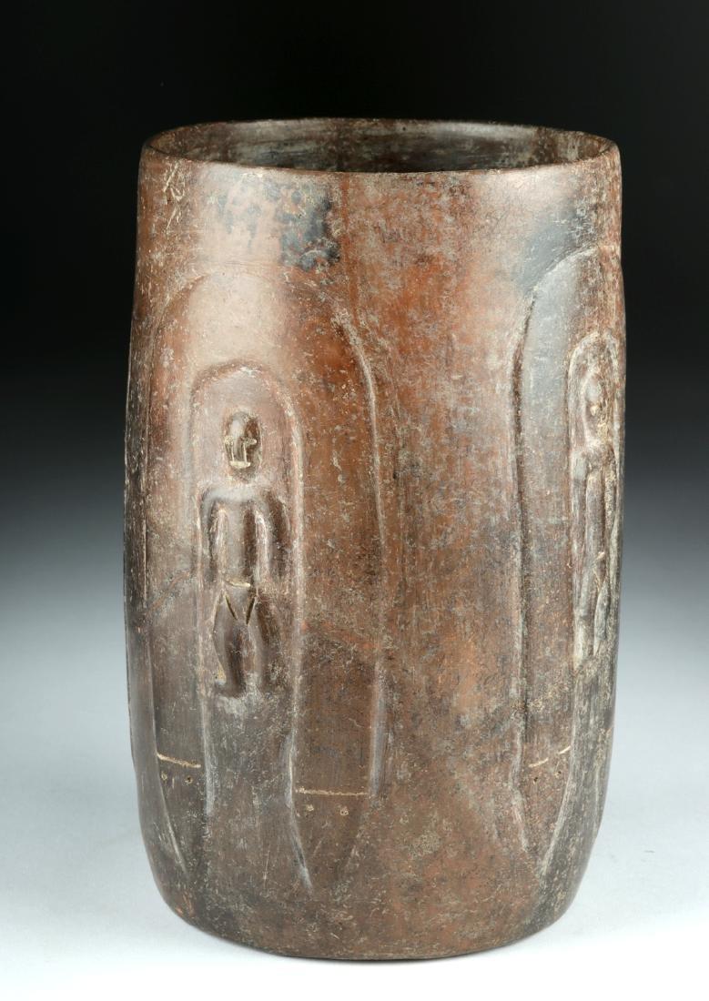 Published Colima Brownware Cylinder w/ Figures