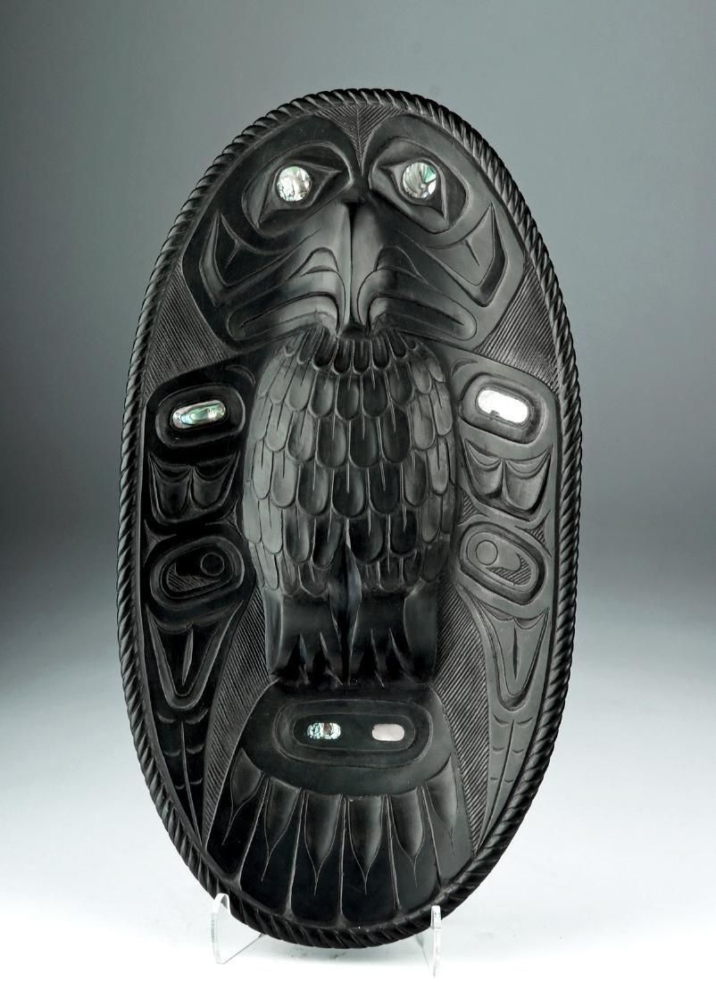 20th C. Northwest Argillite Platter - Ivan Otterlifter