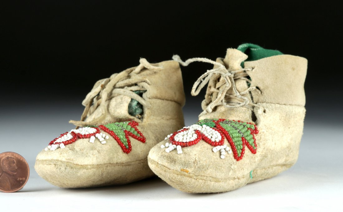 1950s Plains Indian Beaded Moccasins for Baby