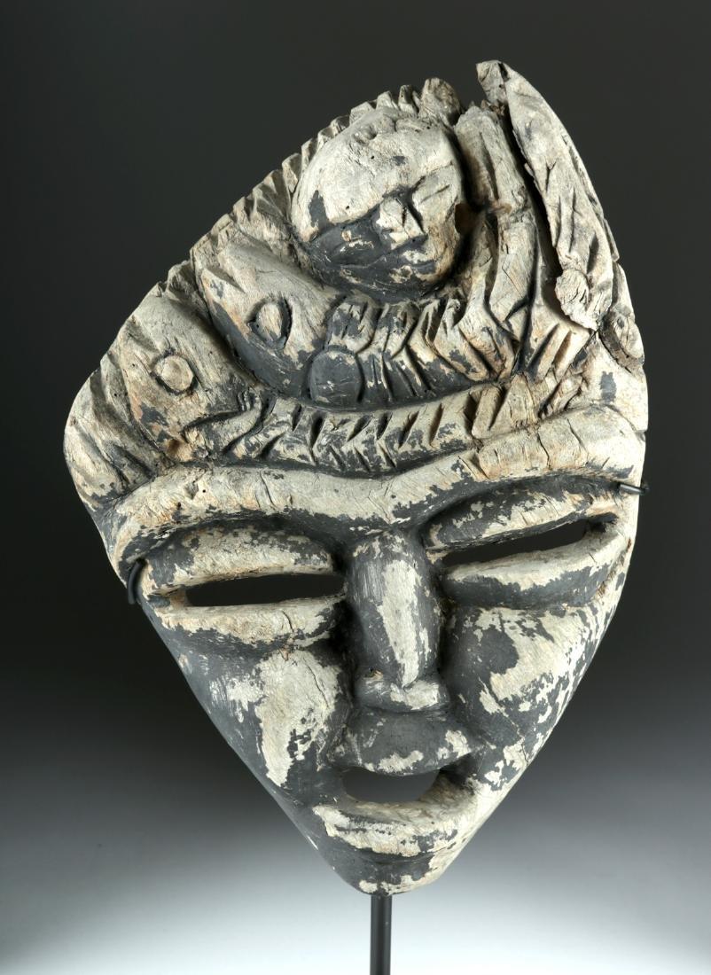 Early 20th C. Haitian Wooden Damballah Shaman Mask