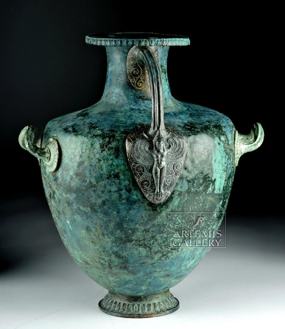 Stunning Greek Bronze Hydria w/ Siren Handle