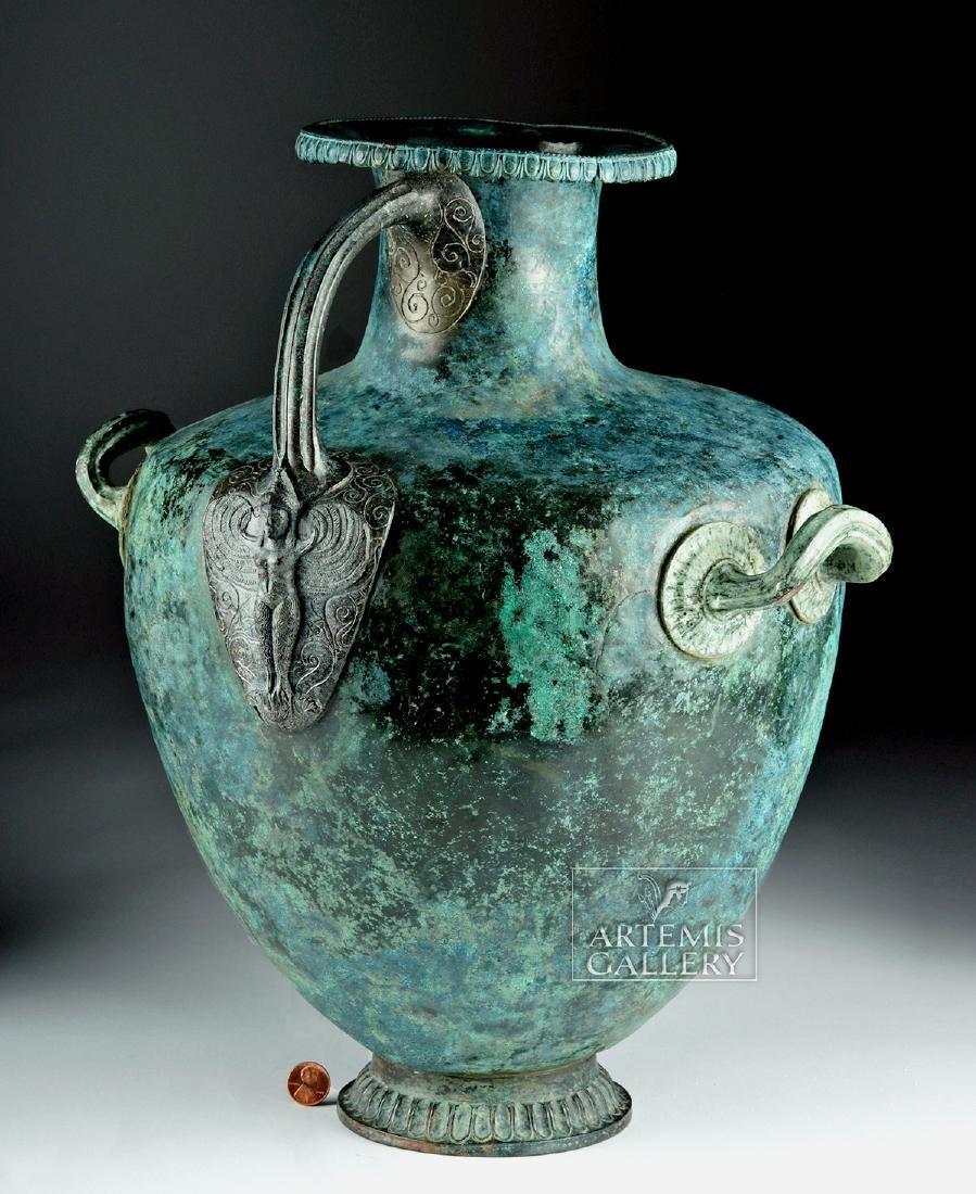 Stunning Greek Bronze Hydria w/ Siren Handle - 2