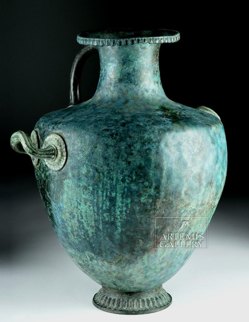 Stunning Greek Bronze Hydria w/ Siren Handle - 3