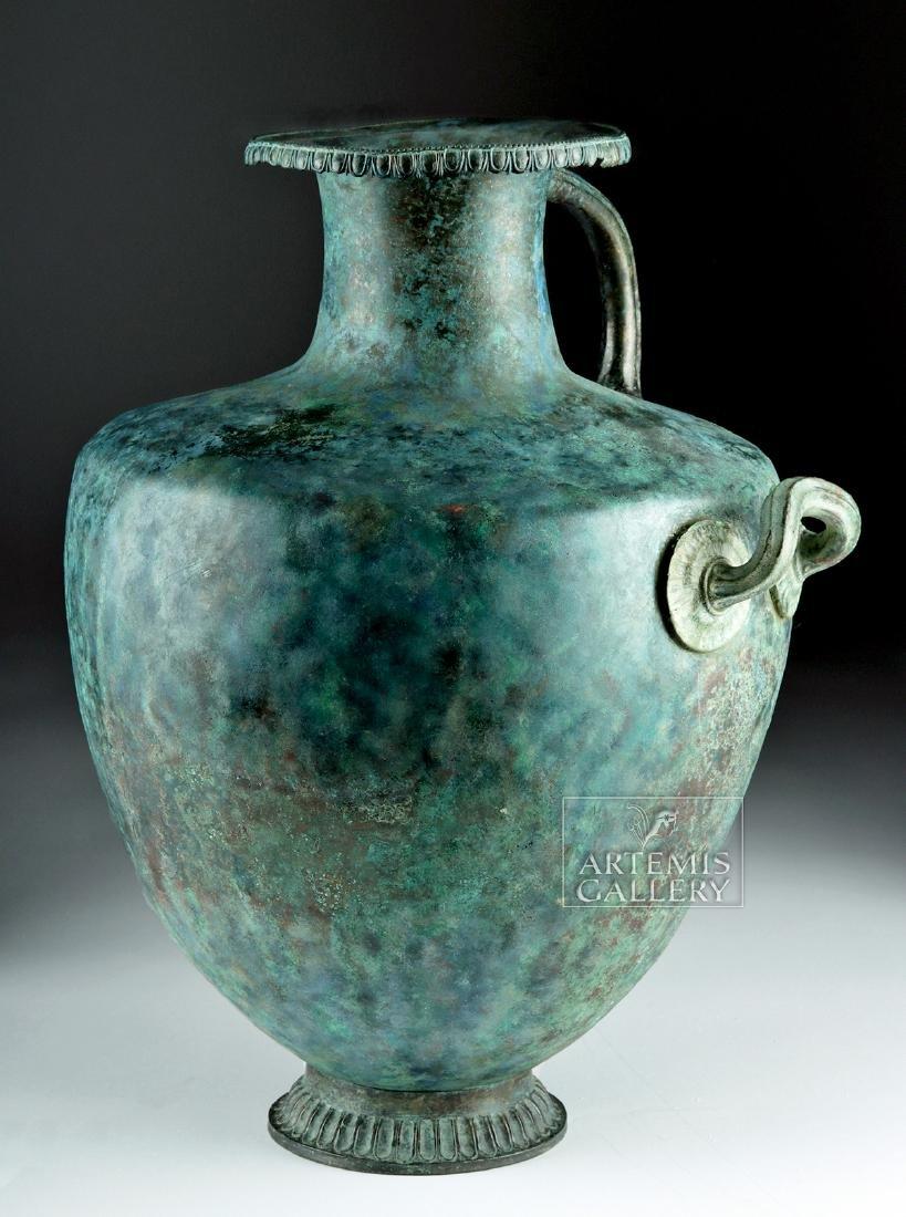 Stunning Greek Bronze Hydria w/ Siren Handle - 4