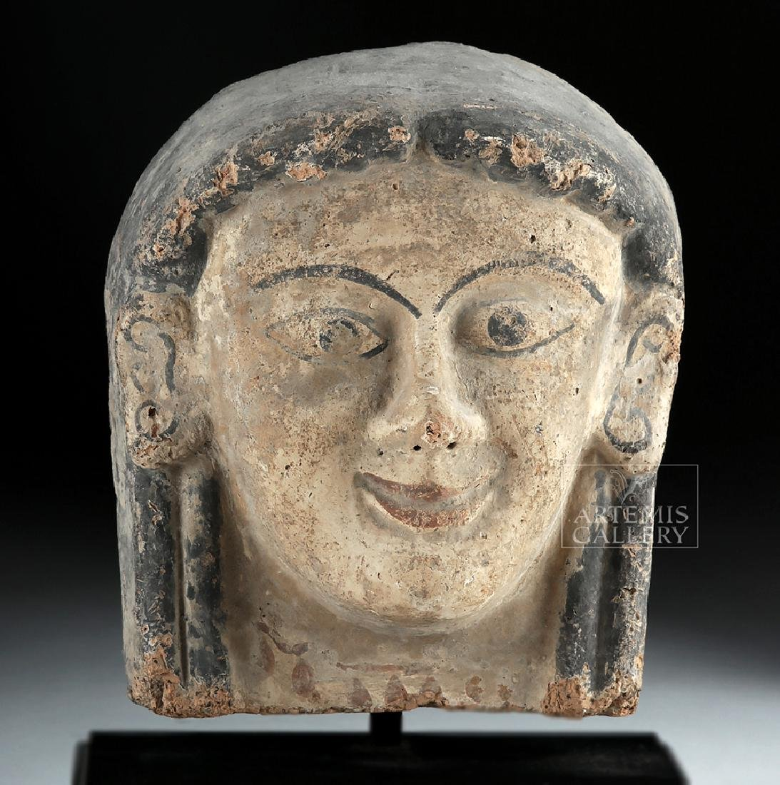 Etruscan Polychrome Terracotta Antefix of Woman