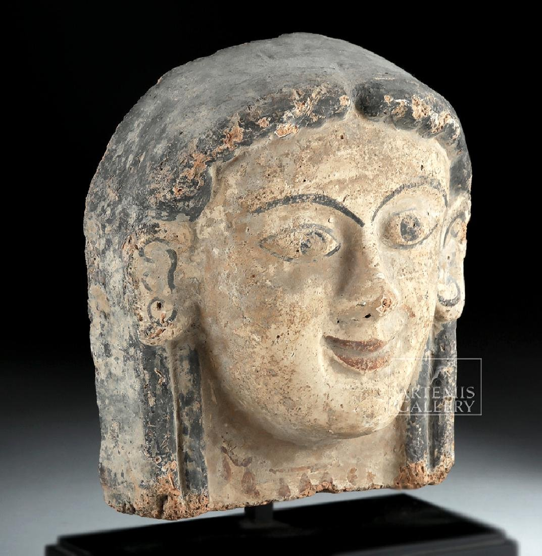 Etruscan Polychrome Terracotta Antefix of Woman - 2